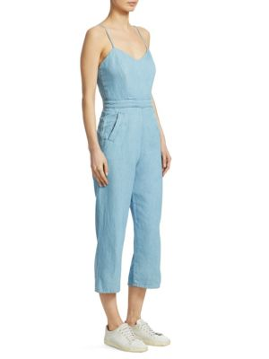 Cut It Out Sleeveless Cropped Jumpsuit in Songbird