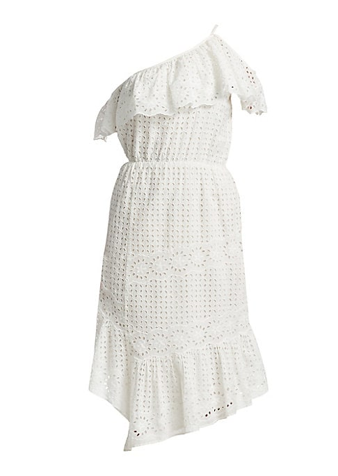 """Image of Cotton eyelet dress with ruffle neckline. Asymmetric neckline. Short sleeves. Pullover style. About 48"""" from shoulder to hem. Cotton. Machine wash. Imported. Model shown is 5'10"""" (177cm) wearing US size Small."""