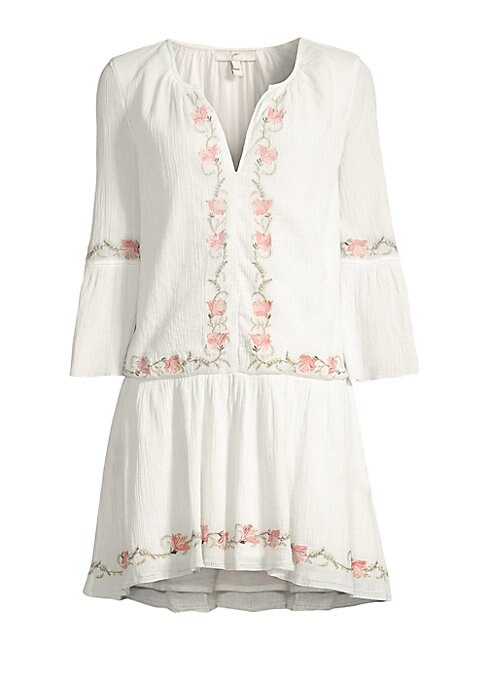 """Image of Bell-sleeve tunic with delicate floral embroidery. Splitneck. Three-quarter bell sleeves. Pullover style. About 34"""" from shoulder to hem. Cotton. Machine wash. Imported. Model shown is 5'10"""" (177cm) wearing US size Small."""