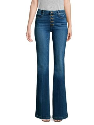 Genevieve Flare-Leg Jeans With Button Fly, Salida