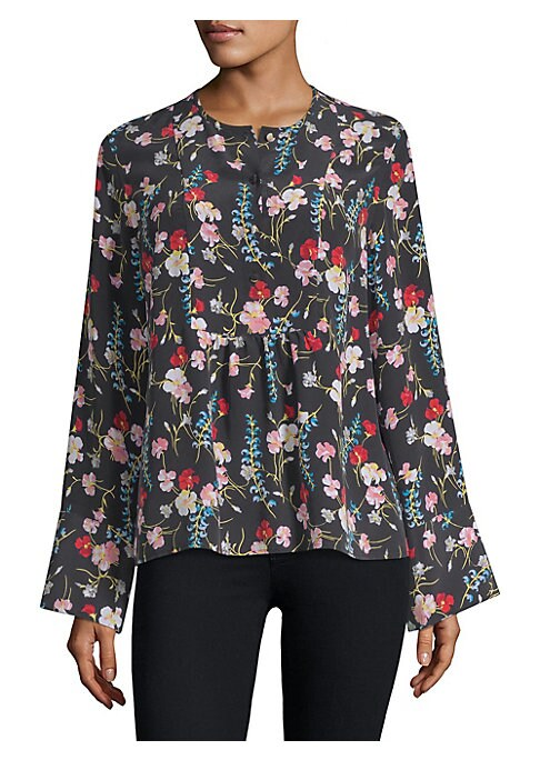 "Image of Colorful floral printed blouse designed in luxe silk. Roundneck. Long sleeves. Button-front. Pullover style. About 24"" from shoulder to hem. Silk. Dry clean. Imported. .Model shown is 5'10"" (177cm) wearing US size 4. ."