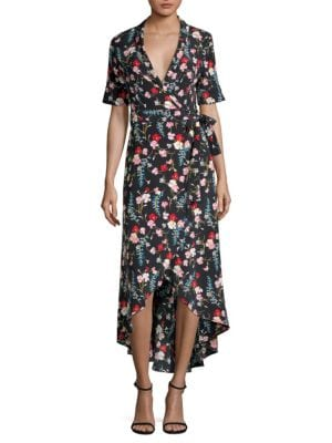 Imogene Floral-Print Washed-Silk Wrap Dress, Eclipse Multi