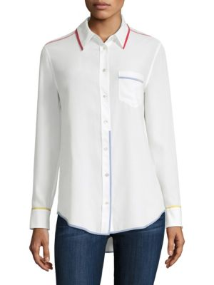 Reese Button-Front Blouse in White