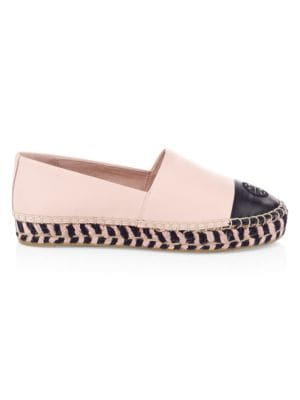 Colorblock Leather Platform Espadrilles by Tory Burch