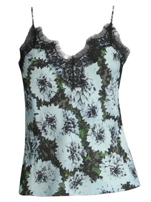 FLEUR DU MAL Floral Silk-Blend Camisole in Blue