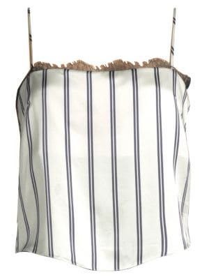 Striped Lace-Trimmed Silk-Charmeuse Camisole, White Pin Stripe
