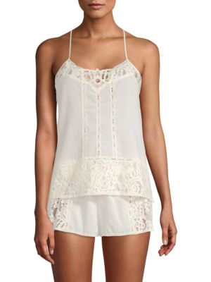 In Bloom Cotton Two-Piece Lace Camisole and Shorts Set