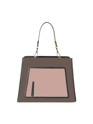 Small Runaway Small Colorblock Leather Tote - Brown in Neutral