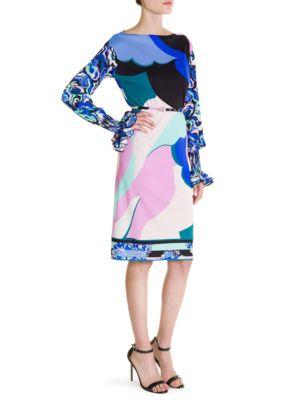 Printed Silk-Blend Minidress in Blue