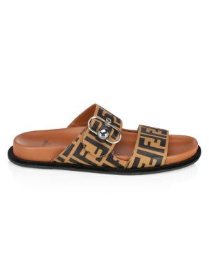 Pearland Ff Leather Slide Sandal, Brown
