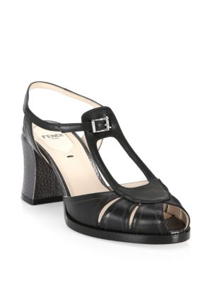 Chameleon Leather Block-Heel Sandal, Black