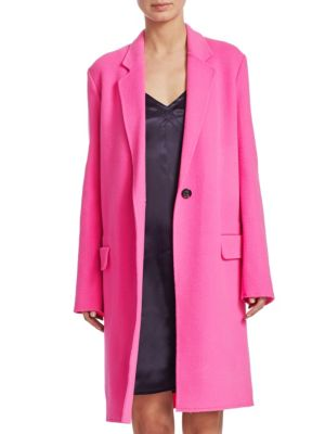 Double Wool Long Coat With One Button Closure, Gum