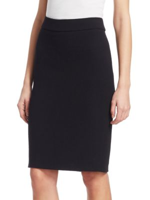 Wool Crepe Pencil Skirt in Black