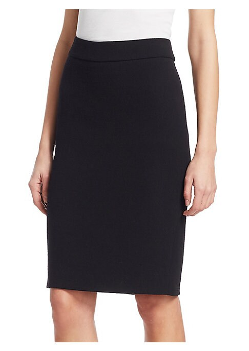 Image of Emporio Armani are known for their simple construction and clean lines, and this classic pencil skirt is a luxurious staple for every wardrobe. The heavy wool construction and banded waist gives a flattering fit and hides all signs of underwear lines. Ban