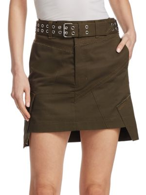 Belted Military Patch Mini Skirt, Dark Peat