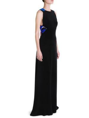 Silk Cady Bow-Back Gown, Black