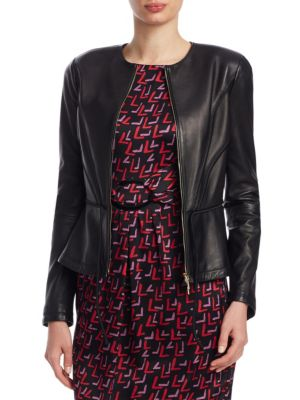 Zip-Front Pleated Leather Jacket W/ Tie Detail, Black