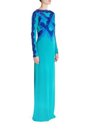 Contrast Lace Jersey Gown, Green Blue Multi Lace