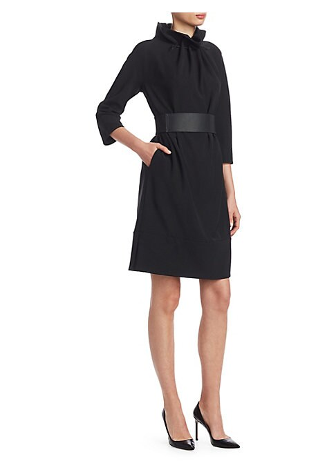 Image of Emporio Armani's long sleeve dress has a boxy silhouette that is shaped by the eye-catching, drawstring-gathered mockneck collar - a motif reflected in the gathered waist with a removable banded belt. Drawstring mockneck. Long sleeves. Concealed back zip