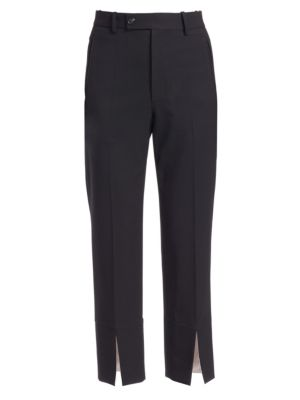 Cropped Wool-Blend Crepe Slim-Leg Pants, Black