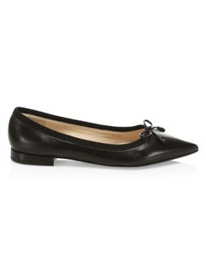 Point Toe Leather Ballerina Flats by Prada