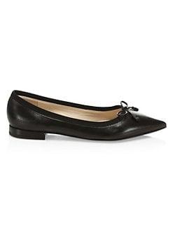 a115212fa3e6 Prada. Point Toe Leather Ballerina Flats