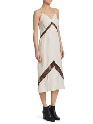 Chevron Lace Slip Dress by Helmut Lang