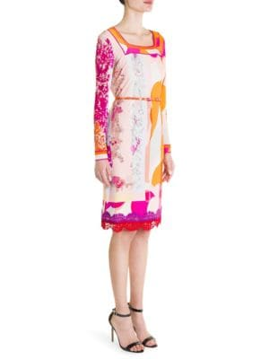 Belted Silk Blend Jersey Shift Dress by Emilio Pucci