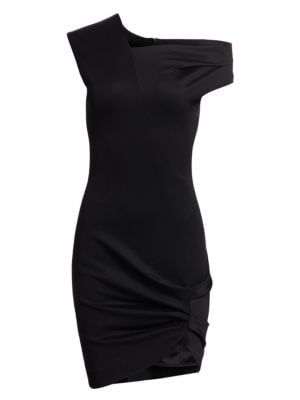 Draped-Neck Stretch-Twill Dress, Black