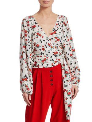 Carla Floral Silk Tie-Front Blouse - White Size 2