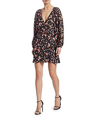 "Image of Luxe silk wrap dress in artful floral print V-neck Long sleeves Self-tie at waist Pullover style About 36"" from shoulder to hem Silk Dry clean Imported Model shown is 5'10 (177cm) wearing US size 4. Contemporary Sp - Workshop > Saks Fifth Avenue. A.L.C. C"
