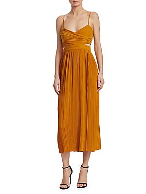 """Image of Sleeveless pleated dress with edgy cutouts Sweetheart neckline Sleeveless Side cutouts Concealed side zip closure About 50"""" from shoulder to hem Polyester Dry clean Imported Model shown is 5'10 (177cm) wearing US size 4. Contemporary Sp - Workshop. A.L.C."""