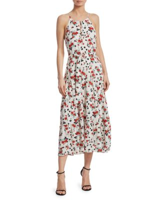 Richards Floral-Print Silk Midi Dress, Eggshell Pink Green