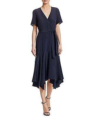 """Image of Belted V-neck dress wrap dress crafted in luxe silk. V-neck Short sleeves Self-tie at waist Side seam pockets Pullover style Silk Dry clean Imported SIZE & FIT About 51"""" from shoulder to hem Model shown is 5'10 (177cm) wearing US size 4. Contemporary Sp -"""