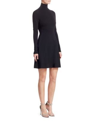 Turtleneck Long-Sleeve Fit-And-Flare Jersey Dress W/ Contrast Stitch, Black