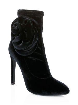 Single Rose Stiletto Heel Velvet Booties in Black
