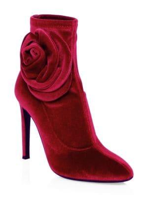 Single Rose Stiletto Heel Velvet Booties in Red