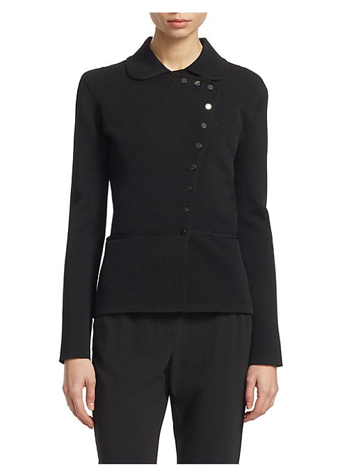 Image of This sleek and simple Ottoman jacket from Armani is crafted in heavy stretch material for a comfortable fit. Highlights are the cute the Peter Pan collar and subtle snap button asymmetric closure creating a fitted, feminine silhouette when closed. Peter P