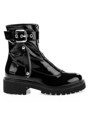 Patent Leather Front-Zip Combat Boots in Black