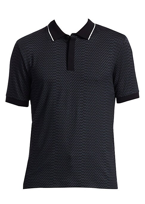 "Image of Stripes adorn this jersey polo in a striped patch formation. Polo collar. Short sleeves. Rib-knit cuffs. Concealed three-button placket. Cotton. Dry clean. Made in Italy. SIZE & FIT. About 29"" from shoulder to hem."