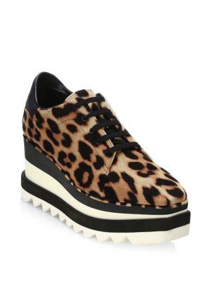 0ae5198c08 Stella Mccartney Elyse Faux Leather-Trimmed Leopard-Print Satin Platform  Brogues In Brown
