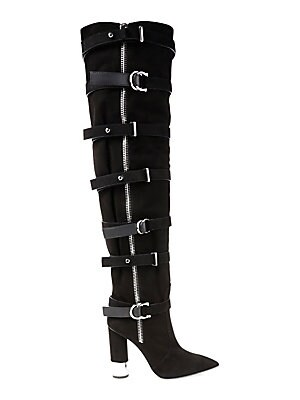 91d30cf309e Giuseppe Zanotti - Crudela Suede Over-The-Knee Buckle Boots - saks.com