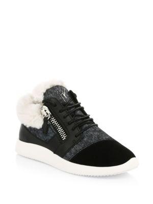 Faux-Fur High-Top Trainer Sneakers, Black