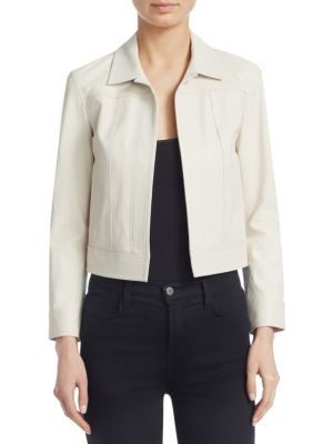 Shrunken Open-Front Lamb Leather Jacket, Chalk