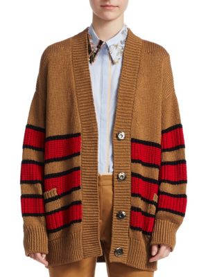 Striped Oversized Snap-Front Cotton Cardigan, Tobacco