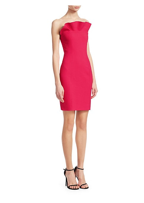 """Image of Bold ruffle trims statement fitted mini dress. Strapless. Concealed side zip. Top ruffle with unfinished hem. Seamed bodice. Fitted. About 30"""" from bust to hem. Polyester/viscose/elastane. Dry clean. Imported. Model shown is 5'10"""" (177cm) wearing US size"""