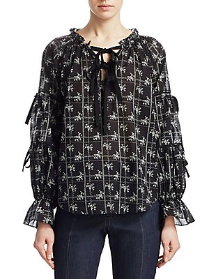 "Image of Airy cotton blouse in artful floral print V-neck Long sleeves Lace-up front Pullover style About 26"" from shoulder to hem Cotton Dry clean Imported Model shown is 5'10 (177cm) wearing US size Small. Contemporary Sp - Workshop > Saks Fifth Avenue. Cinq à S"