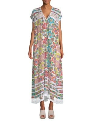 Sabina Kaftan Dress, Fiesta Floral White