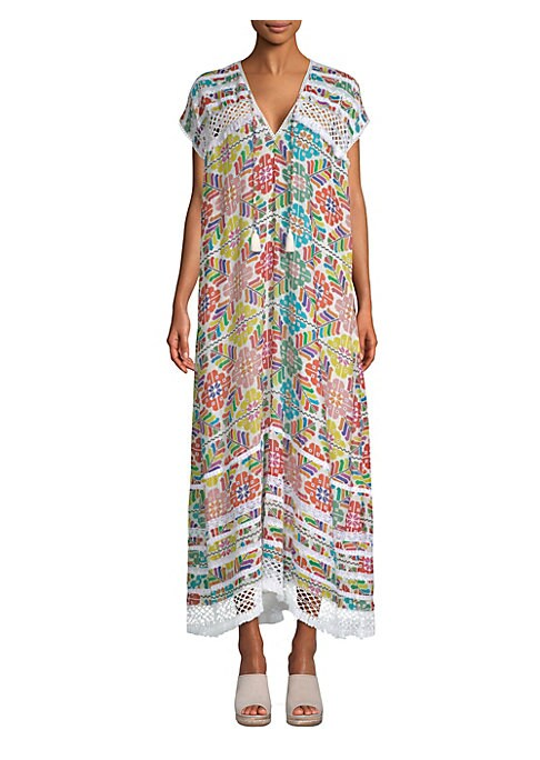 """Image of Crochet trimmed kaftan dress in colorful print.V-neck. Short sleeves. Pullover style. About 56"""" from shoulder to hem. Cotton/silk. Dry clean. Imported. .Model shown is 5'10"""" (177cm) wearing US size 4. ."""