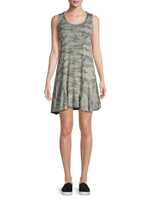 RED HAUTE Camo Flutter-Hem Dress in Moss